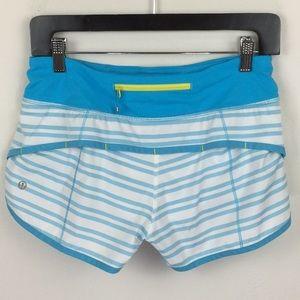Lululemon Speed Shorts White Aqua Stripes 4